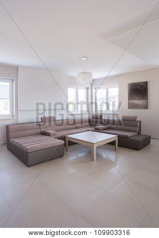 Beige Angular Sofa