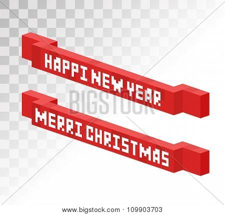 Colorful 3d isometric gift boxe ribbon vector