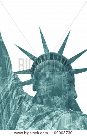 Lady Liberty Wth Skyscrapers