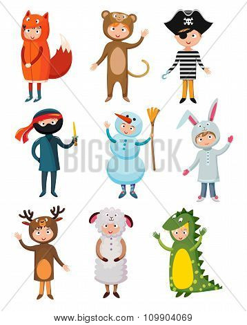 Kids different costumes isolated vector illustration. Dragon, crocodile, sheep, deer, snowman, bear,