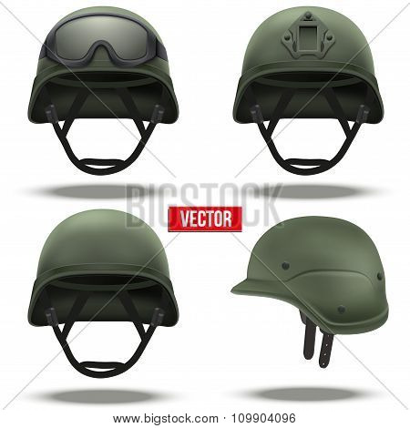 Set of Military tactical helmets green color