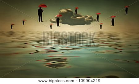 Umbrella men hover in sky  in Surreal Scene