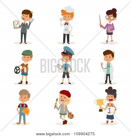 Set of cute cartoon professions kids. Painter, sportsman, cook chef, builder, policeman, doctor, art