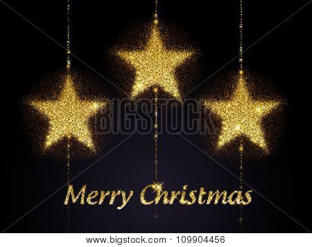 Merry Christmas in glitter with three stars, greeting card