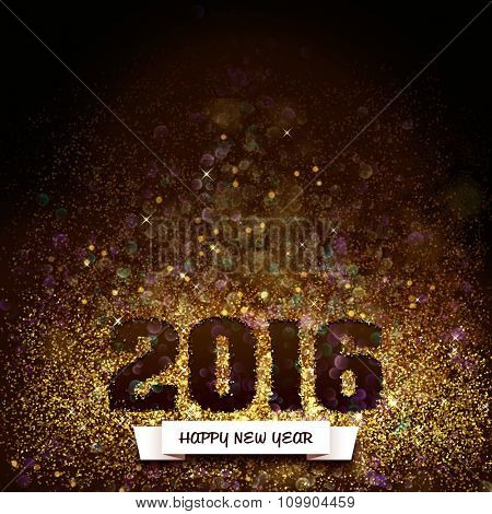 2016, happy new year in glitter, greeting card