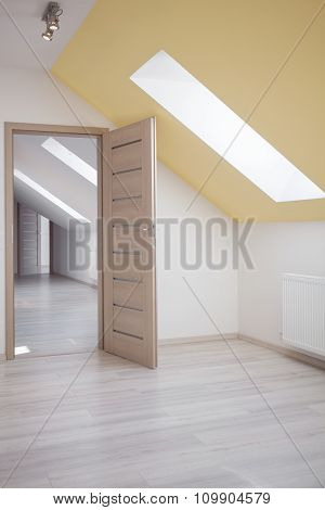 White Walls And Yellow Ceiling