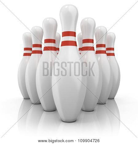 Bowling pins with red stripes grouped and isolated