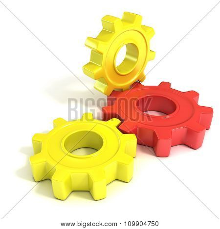 Three gear wheels 3D concept