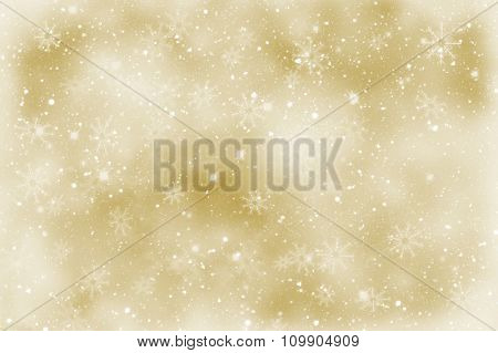 Golden Christmas sparkly background with snowflakes