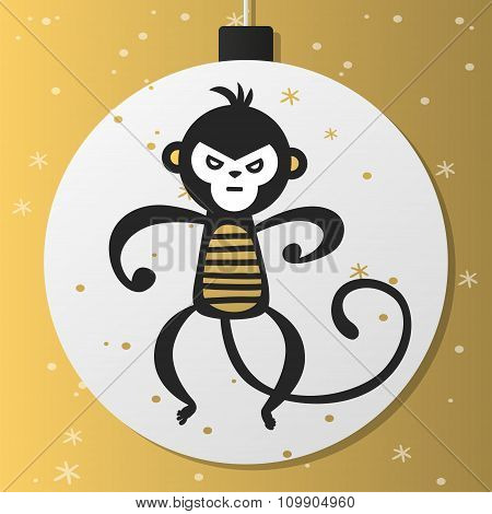 Chinese New Year monkey vector decoration ball icon