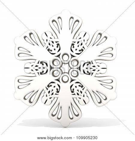 Ornamental white snowflake3D render. Front view