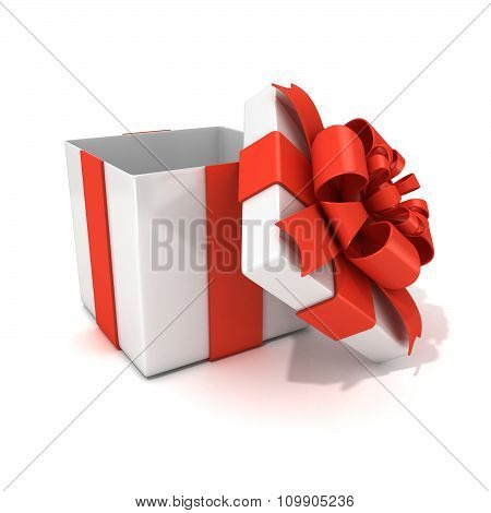 Open empty white gift box with red ribbon 3D render