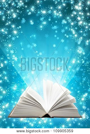 Vertical Christmas background with magic book and snowflakes