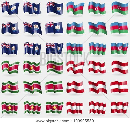 Anguilla, Azerbaijan, Suridame, Austria. Set Of 36 Flags Of The Countries Of The World.