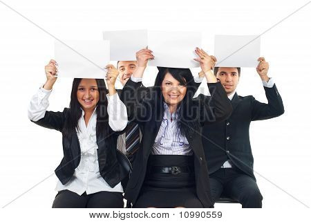 Business People Raise Blank Papers
