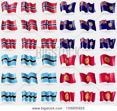 Norway, Turks And Caicos, Botswana, Kyrgyzstan. Set Of 36 Flags Of The Countries Of The World.