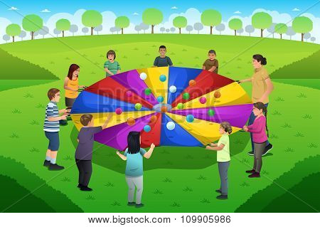 Teacher Student Playing Rainbow Parachute