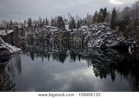 Forest and sky reflected in the water