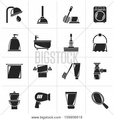Black Bathroom and hygiene objects icons