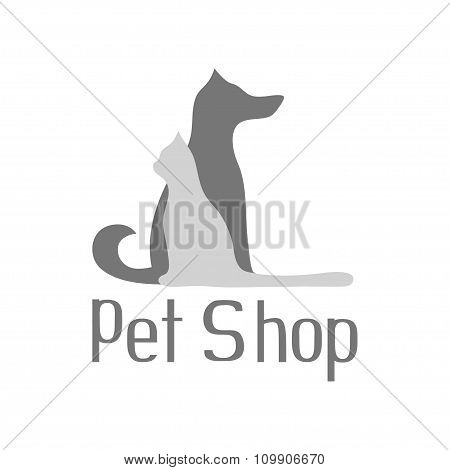 Cat and dog sign for pet shop logo isolated