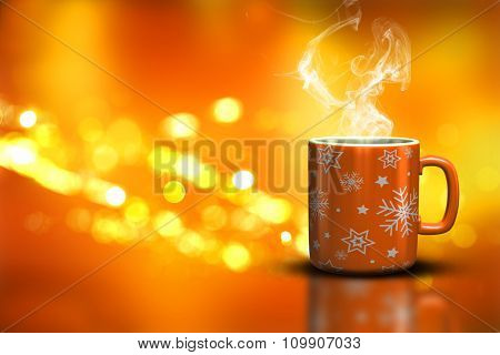 3D render of a Christmas mug on a bokeh lights background