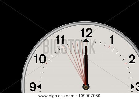 Clock showing a 5 second Countdown (Black background)