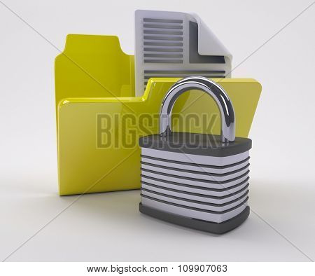 3D Render of Document Security Icon