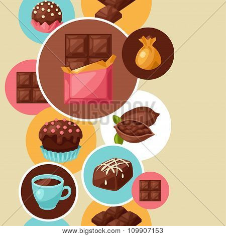 Chocolate seamless pattern with various tasty sweets and candies