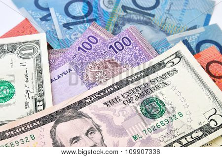 Close-up Photograph Of Australian Dollars, United State Dollars And Malaysia's Ringgit Malaysia Cu