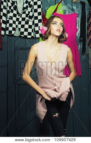 Stylish Woman In Wardrobe