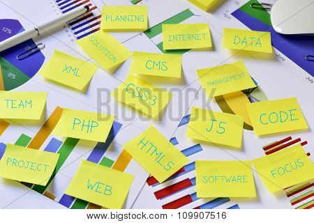 some sticky notes with internet concepts, such as web, project, PHP, CSS3, CMS, HTML5 or J5, on an office desk full of charts