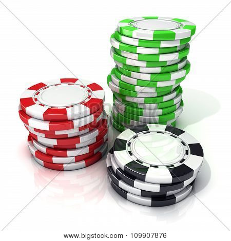 Stacks of red green and black gambling chips isolated