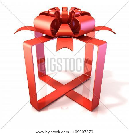 Festive gift ribbon and bow, box shaped, 3D