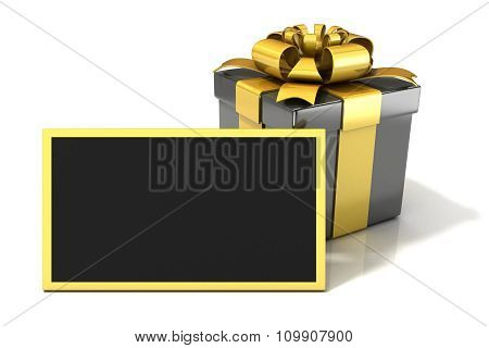 Black elegant Gift box with black blank gift card. 3D render