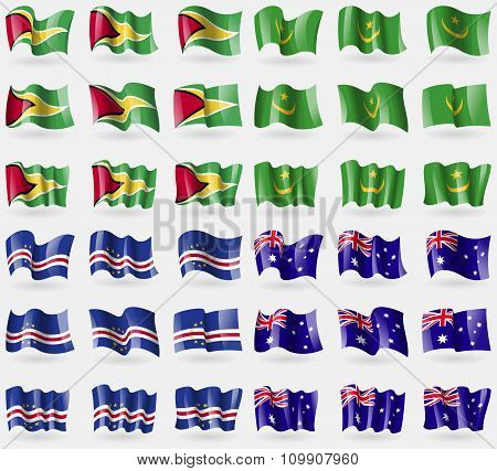Guyana, Mauritania, Cape Verde, Australia. Set Of 36 Flags Of The Countries Of The World.