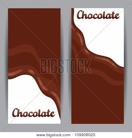 Set of vertical banners with chocolate flow
