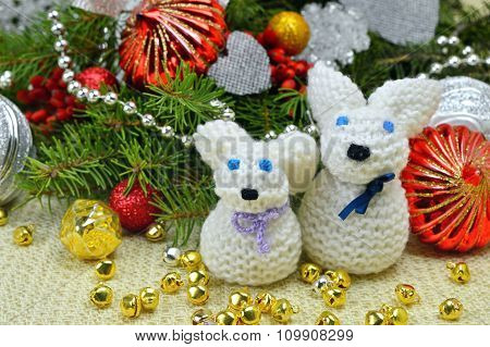 Christmas Tree With Ornaments And Knitted Hare Funny, In A Rustic Style.