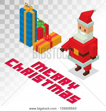 Santa Claus, gift box sometric 3d icons vector illustration