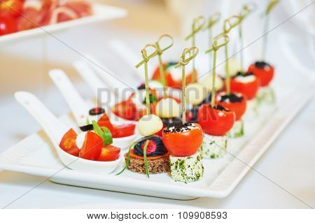 Catering services. Close-up macro dish with food meal in restaurant. Shallow DOF