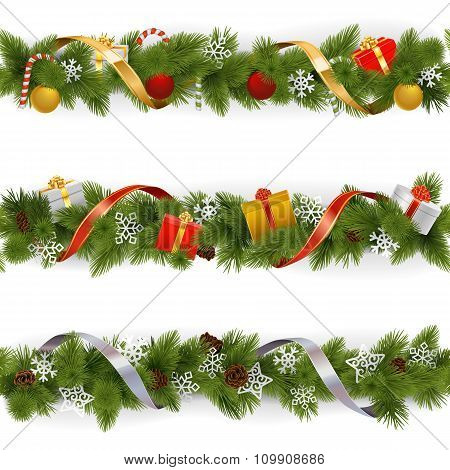 Vector Christmas Border Set 3