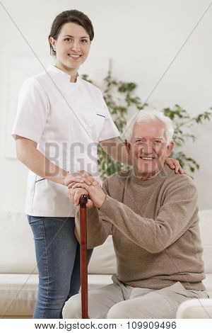 Young Nurse And Old Man