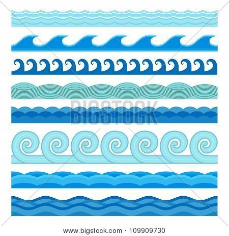 Waves flat style vector seamless icons collection
