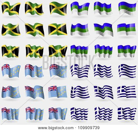 Jamaica, Komi, Tuvalu, Greece. Set Of 36 Flags Of The Countries Of The World.