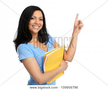Asian student girl showing a copy space.