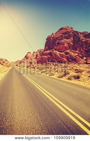 Vintage Toned Desert Highway, Travel Concept, Usa