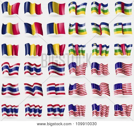 Chad, Central African Republic, Thailand, Bikini Atoll. Set Of 36 Flags Of The Countries Of The