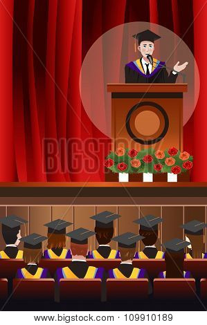 Graduating Man Giving A Speech