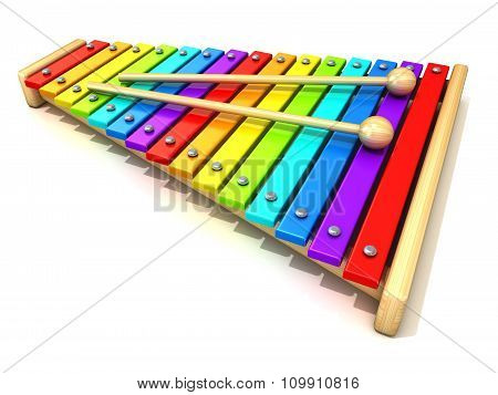 Xylophone with rainbow colored keys and with two wood drum sticks. 3D render