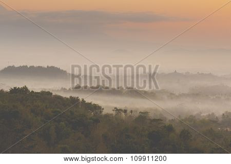Colorful Sunrise Over Merapi Volcano And Borobudur Temple In Misty Jungle Forest, Indoneisa