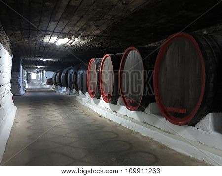 Cricova, Moldova, 03.10.2015, Old Traditional Wine Cellar With Big Wooden Barrels
